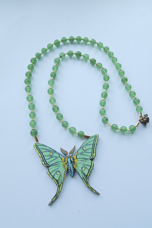 green butterfly -necklace