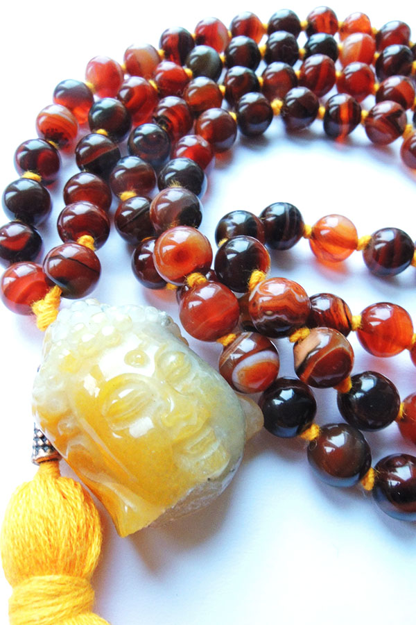 Brown Agate Mala Beads