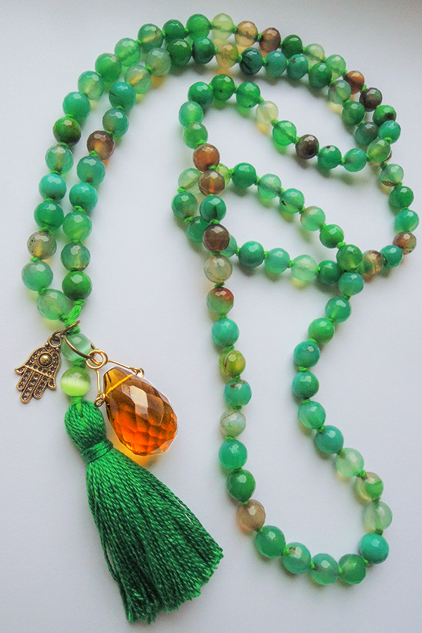 Agate mala beads and Fatimas Hand