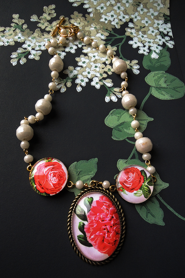 Peony and roses necklace