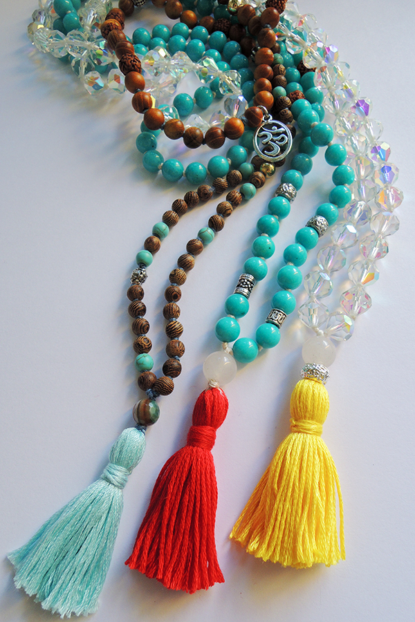 Turqouise and Rose Wood, Turqouise and Quartz Mala Beads