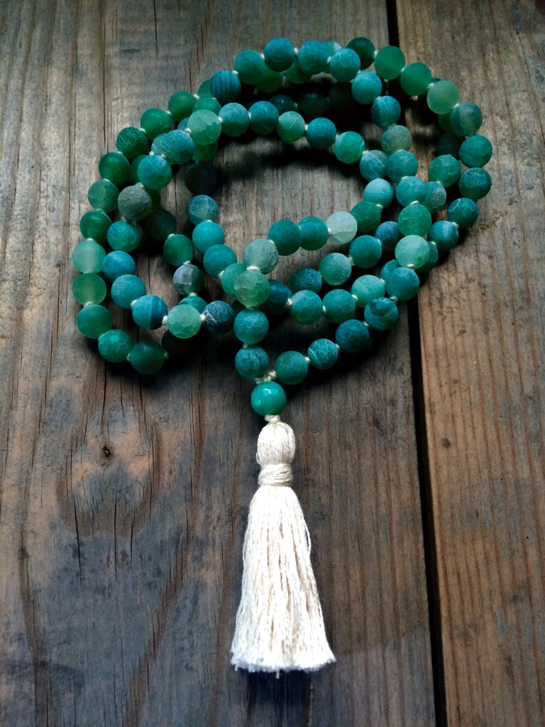 Frosted Green Agate Mala Beads