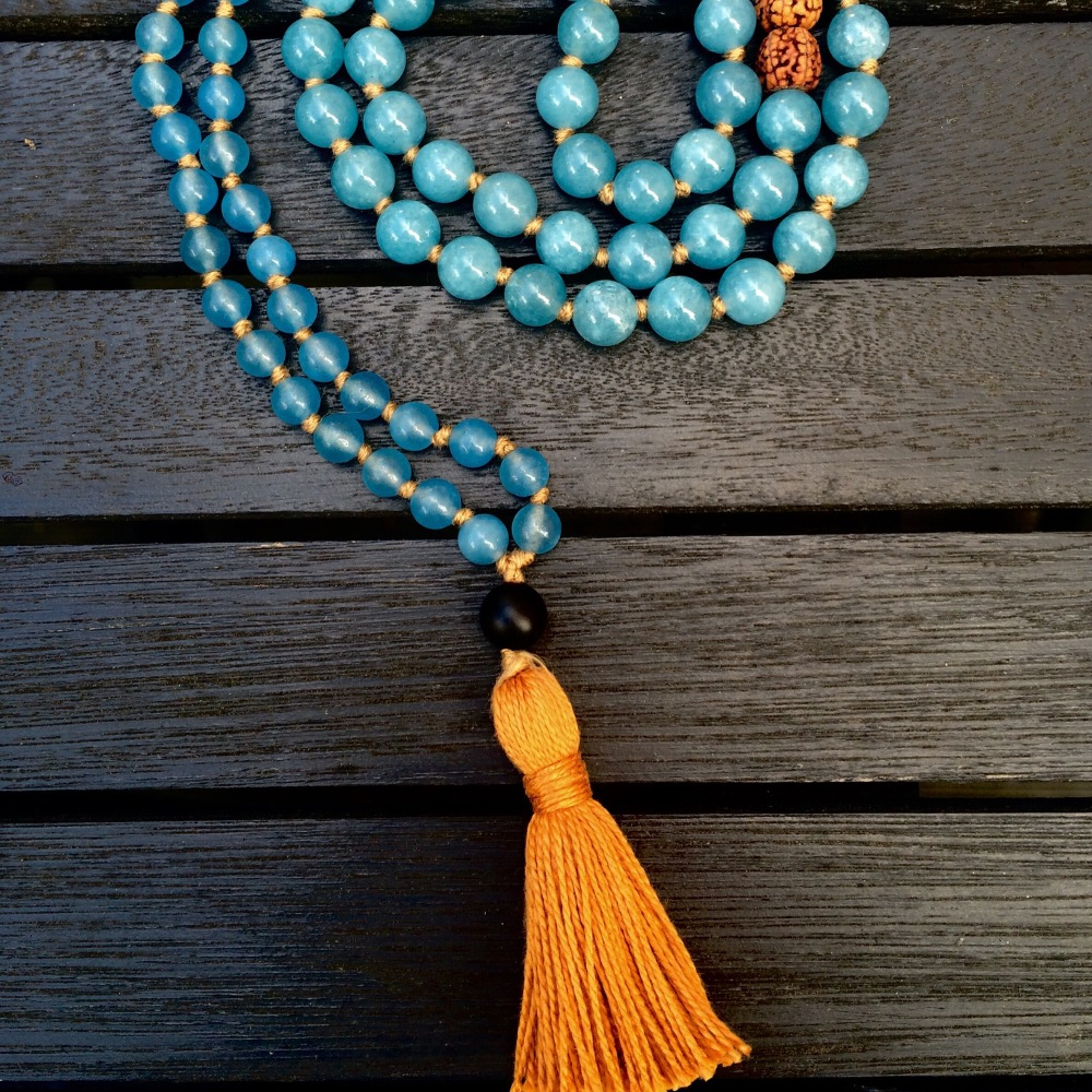 Aquamarine and Agate Mala Beads