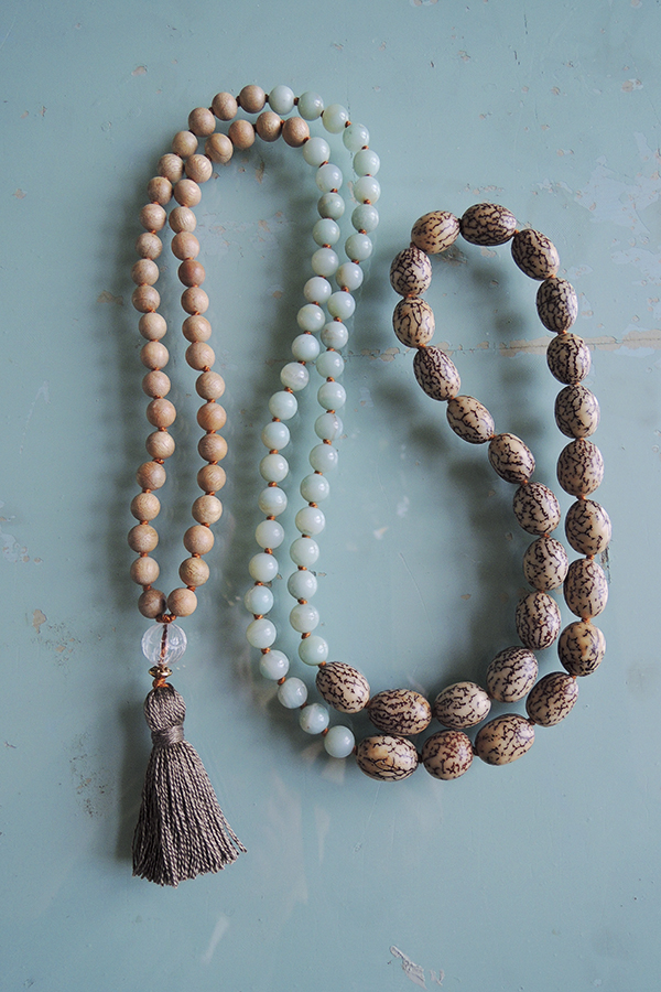 Aventurine, Sandal and Bodhi Wood Mala Beads