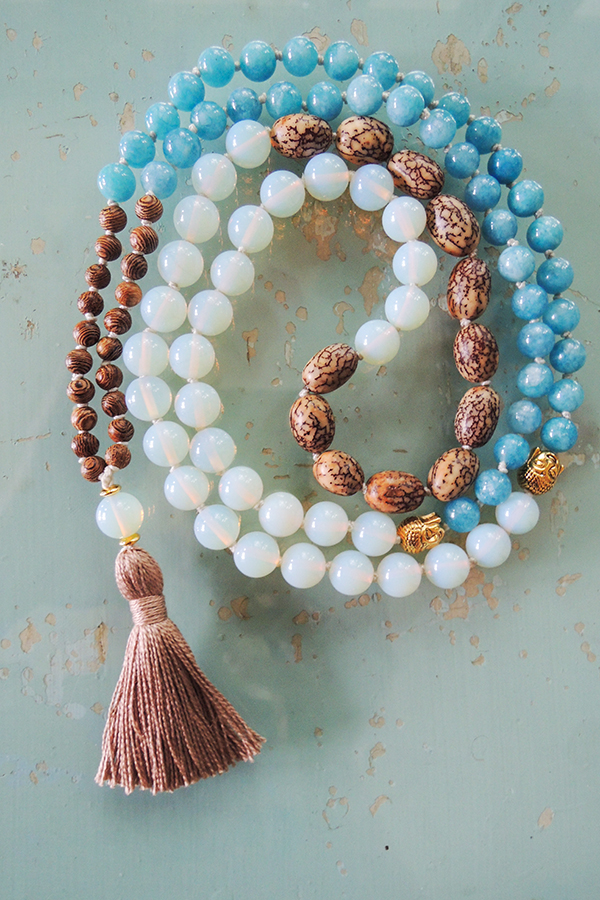 quartz, opalite and bodhi wood