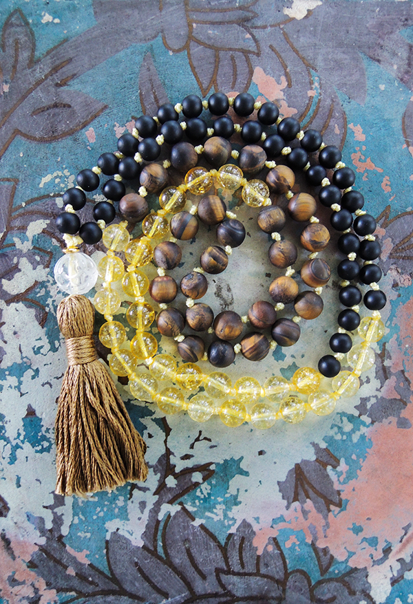 Tiger´s Eye, Citrine and Agate Mala Beads