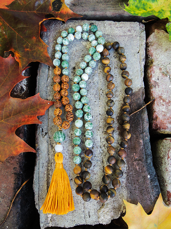 Tree Agate, Tigers Eye and Rudraksha Mala Beads
