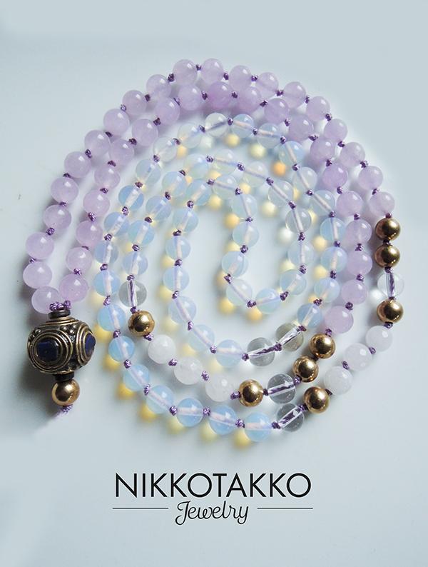 Amethysts and opalite mala beads
