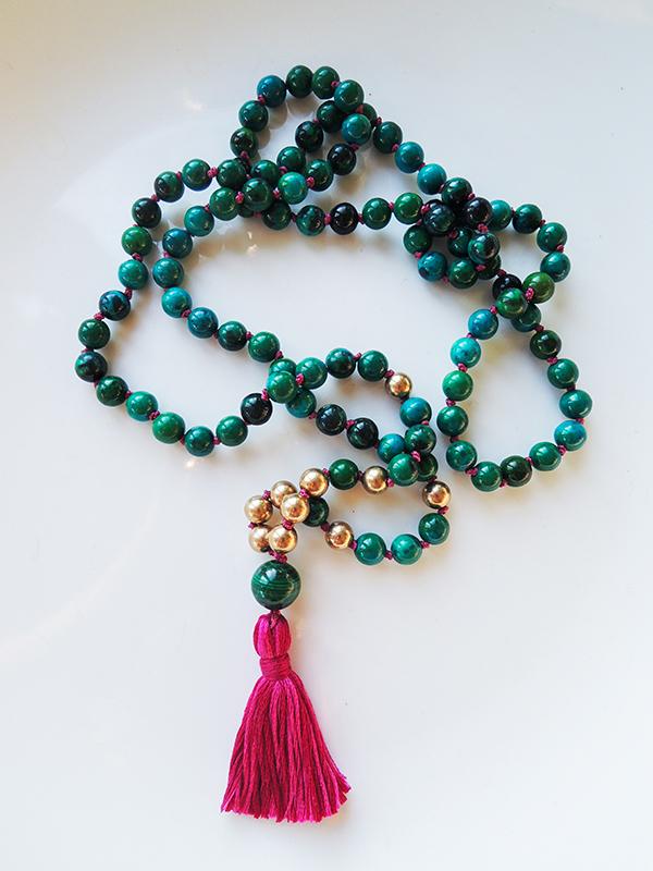 Azurite Mala Beads with Malachite Guru Bead.